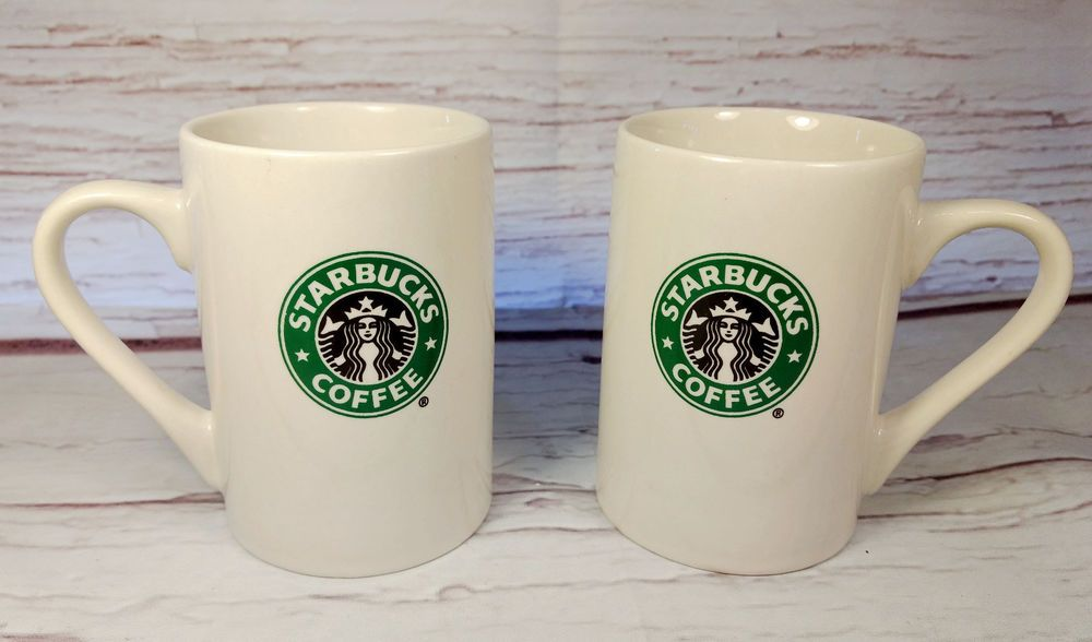 Set Of 2 White Starbucks Coffee Tea Mug Cup Green Siren Mermaid Logo 10 Oz 2008 Starbucks Starbucks Mugs For Sale Starbucks Mugs White Coffee Mugs