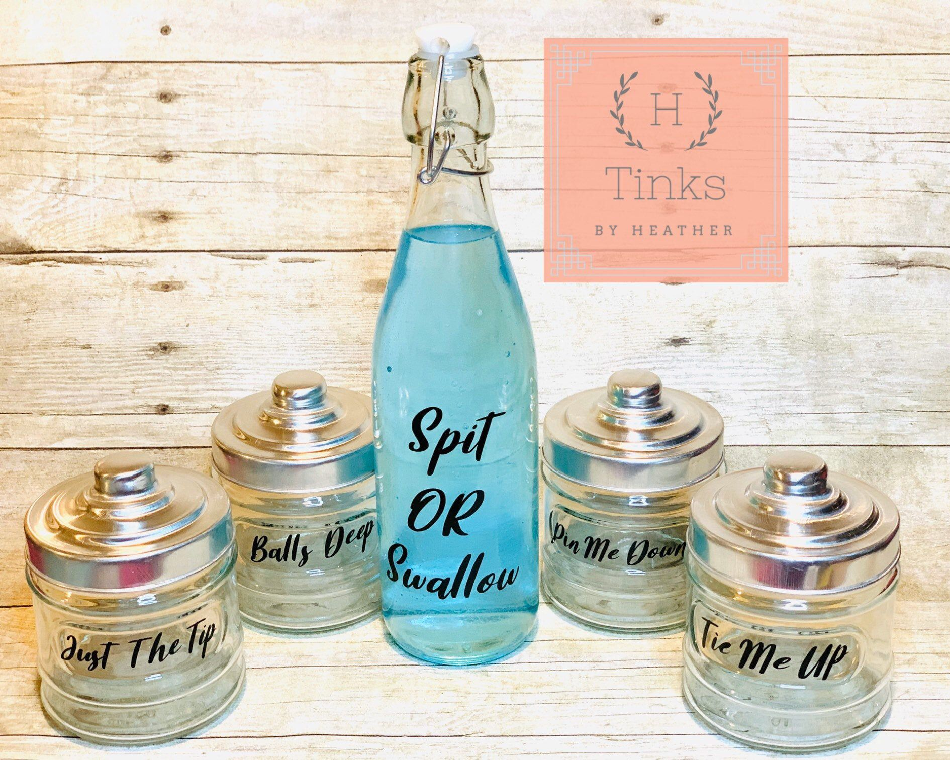 Balls Deep Just The Tip Funny Bathroom Decor By Tinksbyheather On Etsy Https Www Etsy Com Listing 7540154 Funny Bathroom Decor Bathroom Jars Bathroom Decor