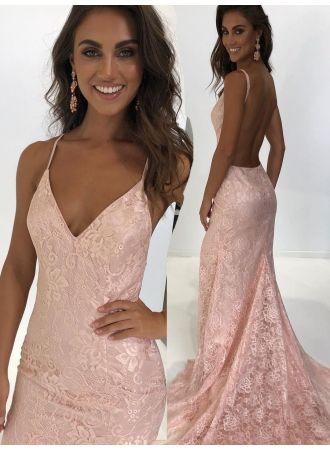 abendkleid lang rosa günstig  moderne lange kleider spitze modellnummer dd0004  pinke