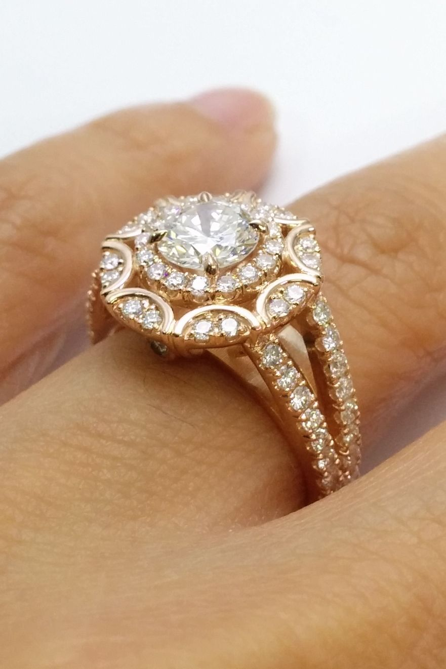 Very Beautiful A Little Too Glam But I Love The Band Rose Gold Engagement Ring Vintage Small Engagement Rings Victorian Engagement Rings