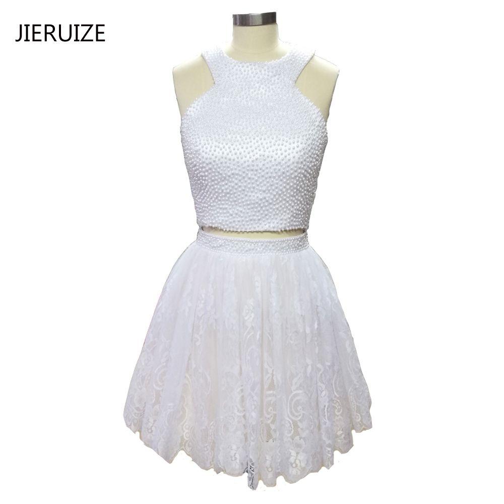 Jieruize little white dress white lace short prom dresses
