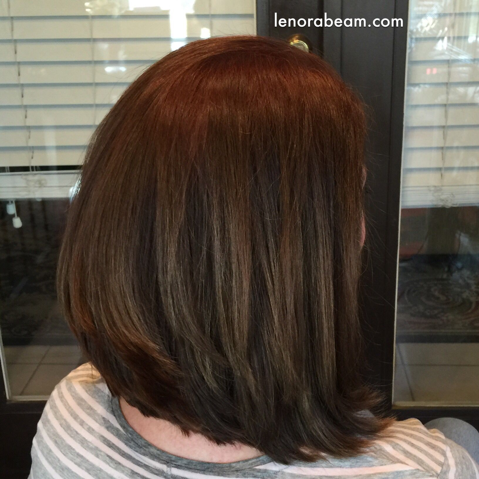 Trendy Lob Haircut Haircolor Redken Color Fusion 6n