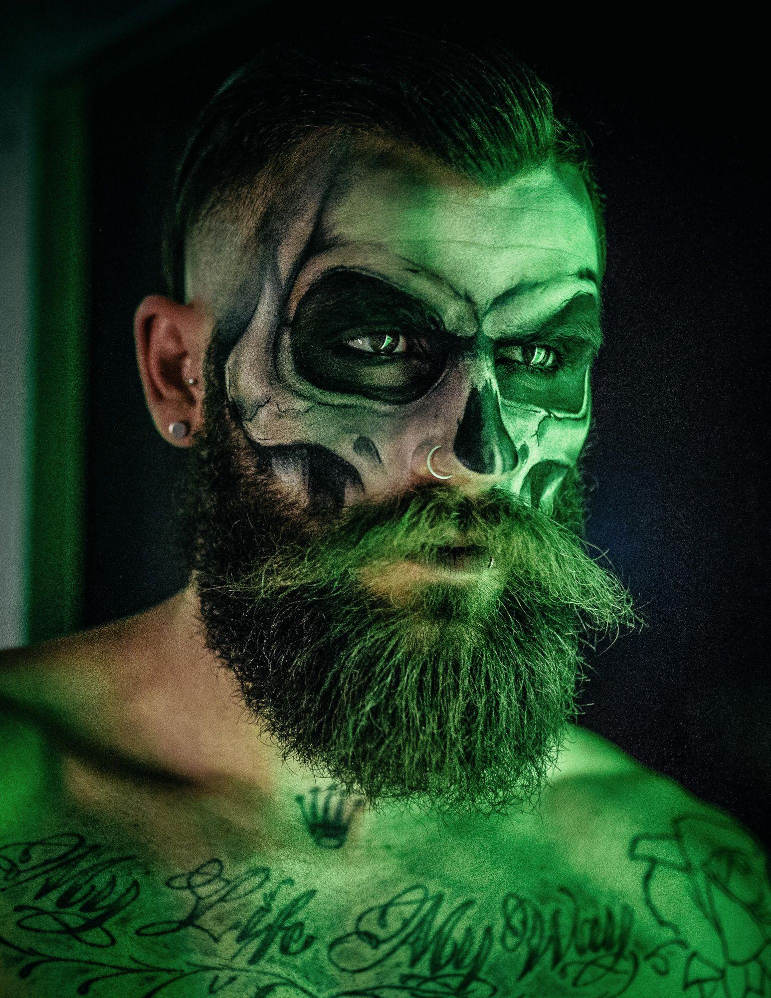 Großartig Halloween Schminken Männer Ideen Von Skull Make Up With Beard - Pesquisa