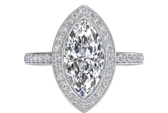 Vintage Halo Micropavé Diamond Band Engagement Ring In