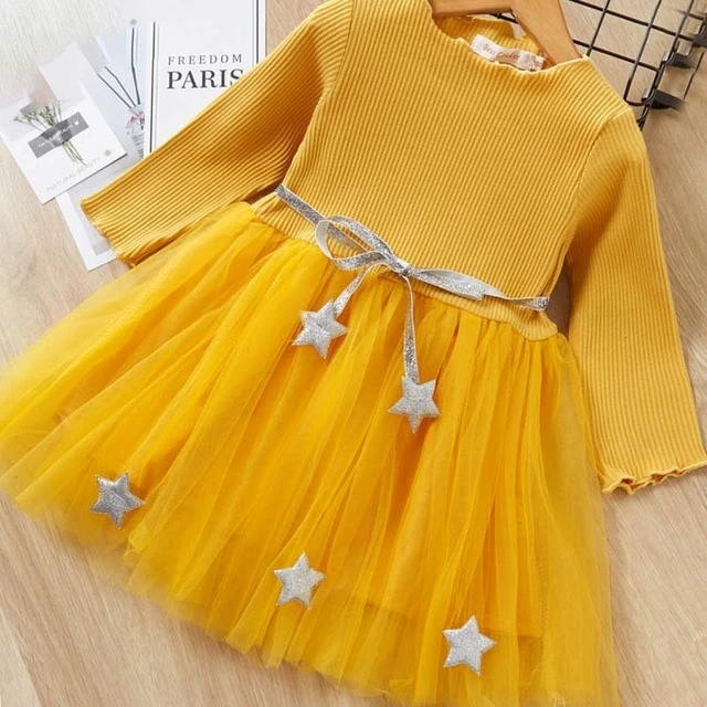 New Style Girl Dress Casual Striped Cute Long Sleeve Design Clothes for Kids