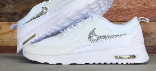 esty Swarovski Crystal Shoes 2015 Womens Nike Air Max Thea With Elements  Crystal Rhinestones All White 1c11cc142