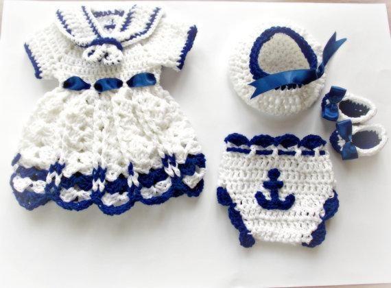 (4) Name: 'Crocheting : Sailor set