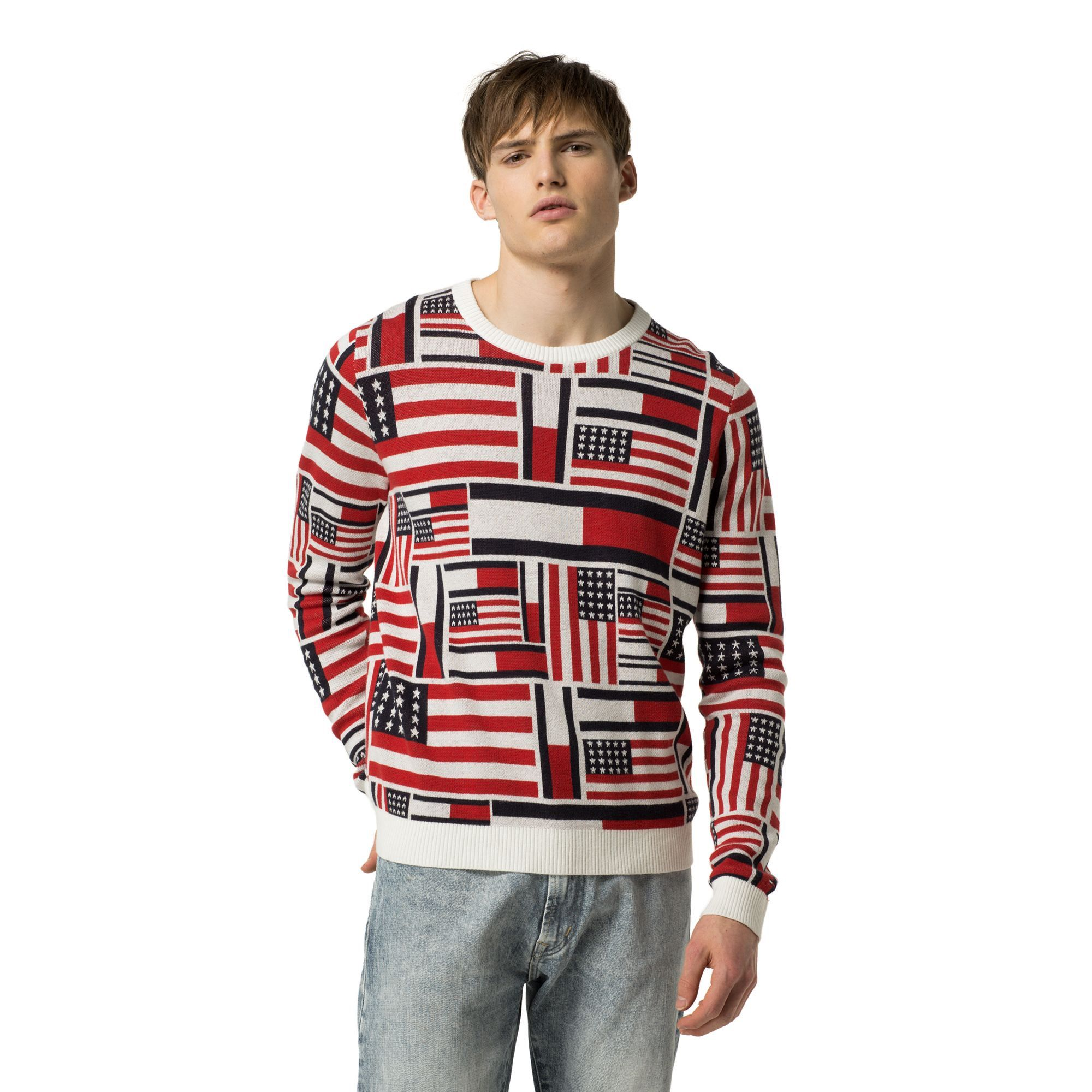 TOMMY HILFIGER ICON FLAG SWEATER MARSHMALLOW / MULTI.