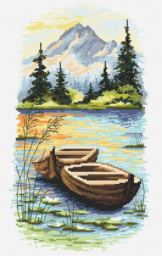 Dusk on the lake digital cross stitch pattern -, Mountain landscape with a lake digital PDF