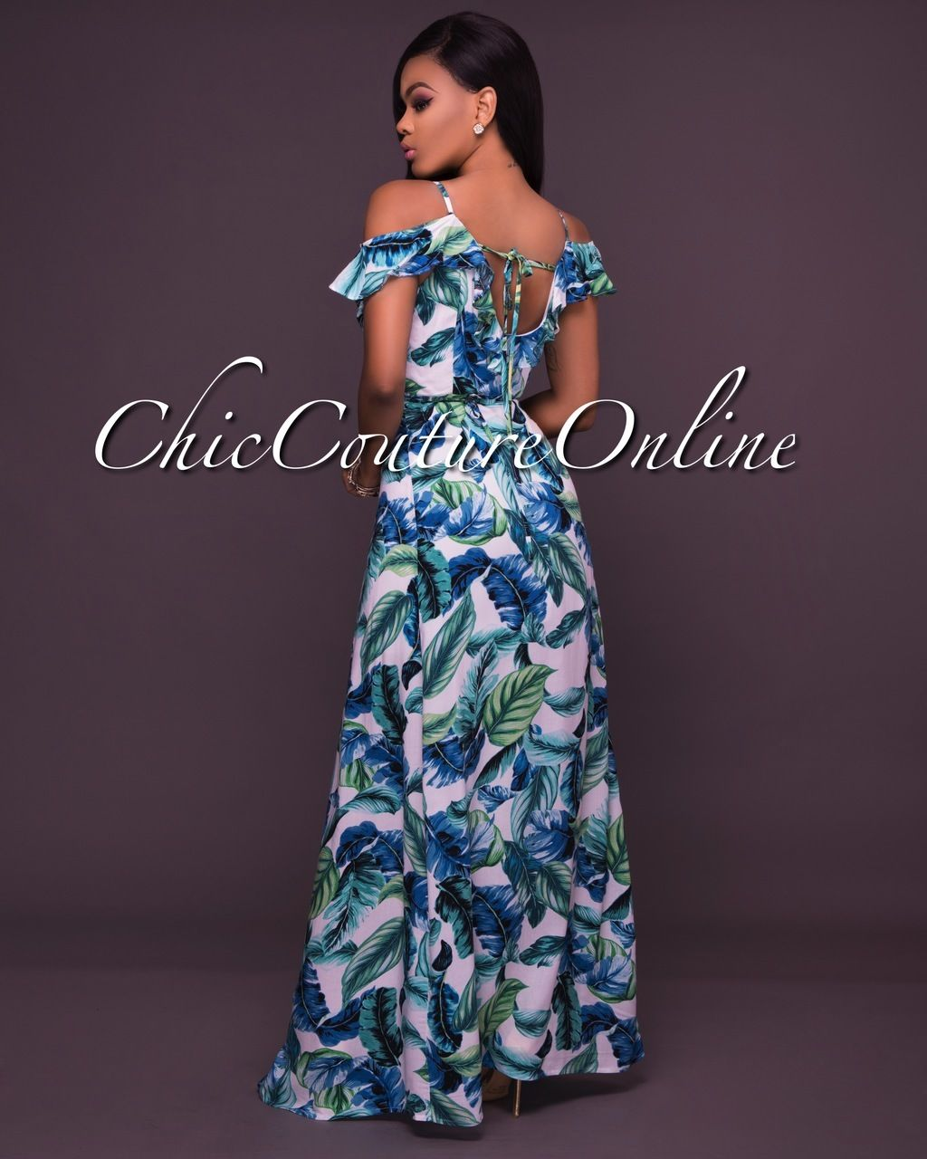 3e0ccdbe63 Chic Couture Online - Ketia Off-White Green Leaf Print Ruffle Maxi Dress