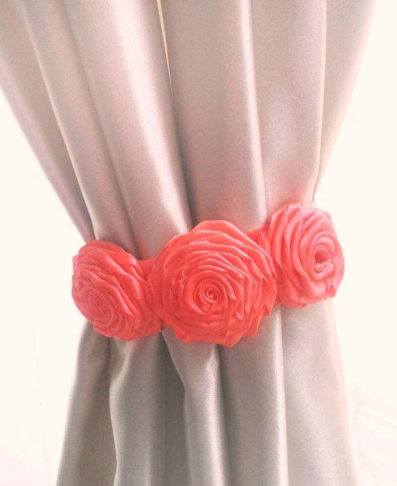 Curtain Tie Back,2pcs,Flower Curtain Tie Backs,Shabby Chic
