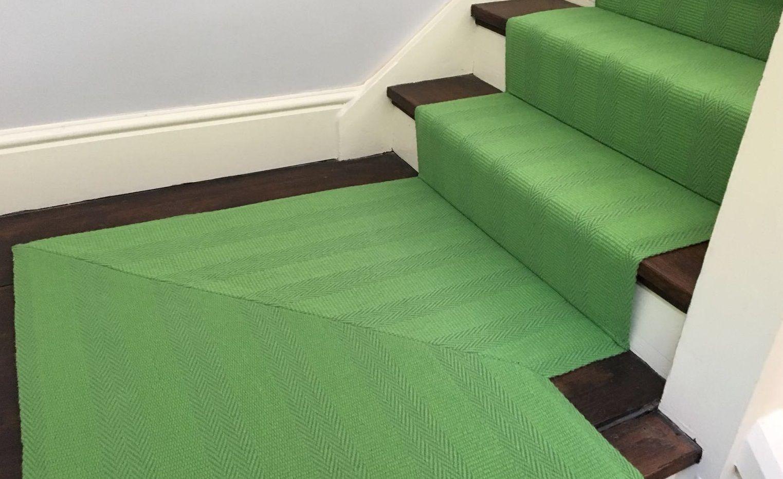 Roger Oates New Hadley Lime Herringbone Stair Carpet