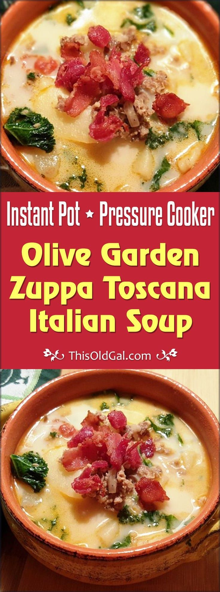 Pressure Cooker Olive Garden Zuppa Toscana Italian Soupis better then the restaurant and on your table in less than 30 minutes. Use Radishes instead of Potatoes to make it Low Carb and Keto! via @thisoldgalcooks