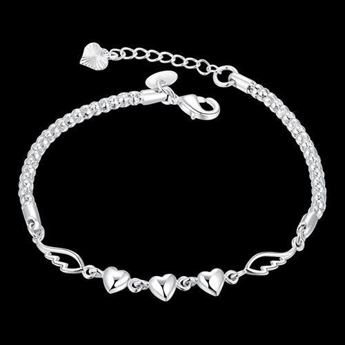 Women's 925 Sterling Silver Charm Love Heart Wings Bracelet Cuff Bangle Jewelry - Green