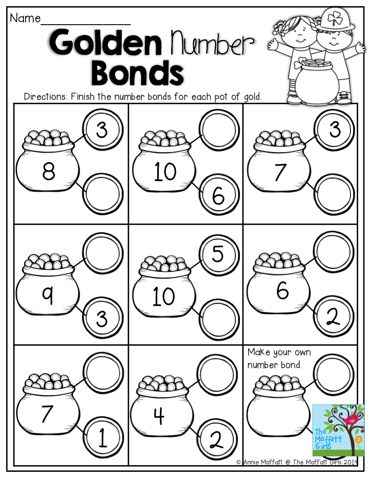 Golden Number Bonds- Great KINDERGARTEN activity that helps build ...