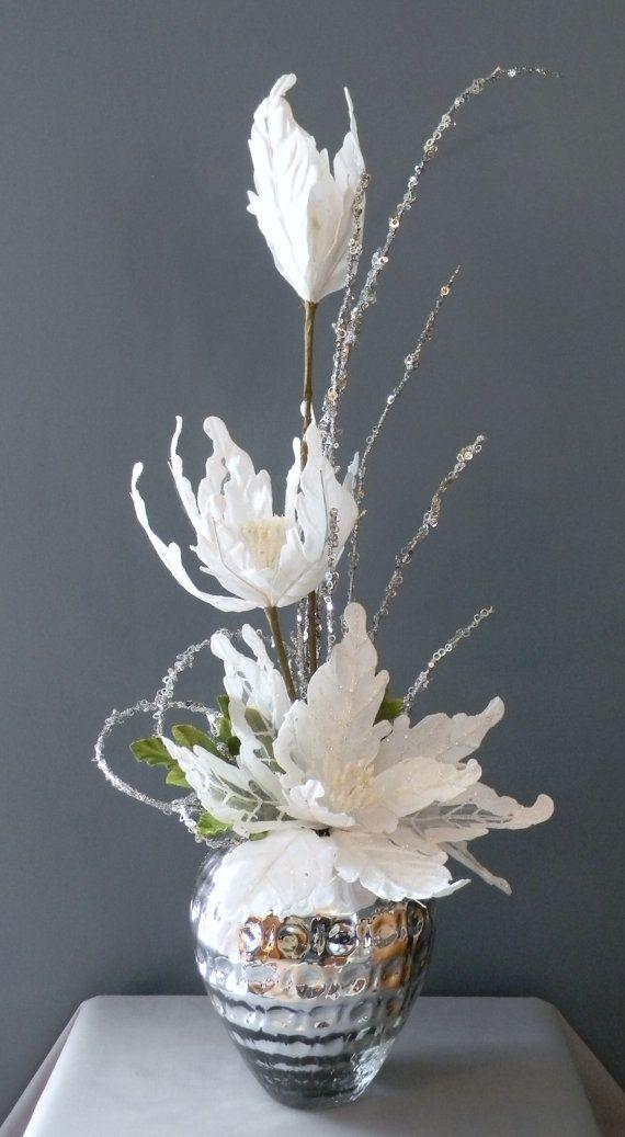 Elegant Winter Centerpiece, Christmas Floral Arrangement, Poinsettia