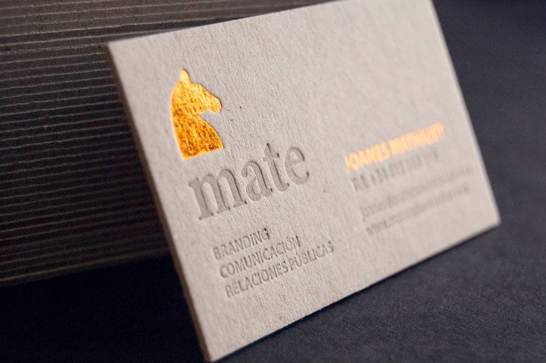 Embossed business card with gold foil la rebelle pinterest embossed business card with gold foil colourmoves
