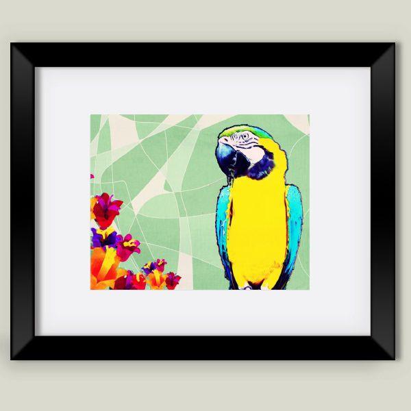 Parrot in Paradise Framed Art Print by bunhuggerdesign on BoomBoomPrints