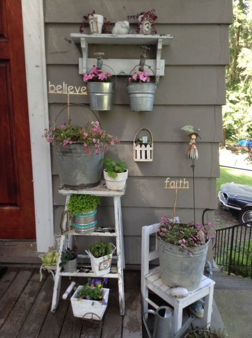 Bucket Planters Gardenplanters Garden Planters Ladder Front