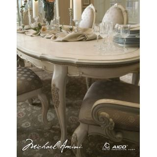 Lavelle Blanc Finish Oval Dining Table By Aico / Michael Amini