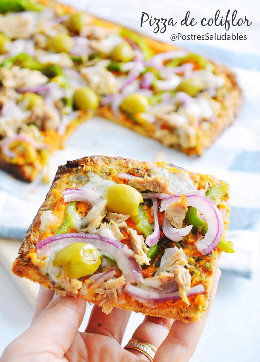 Pizza De Colifrlor Saludable Una Cena O Comida Perfecta Baja En  ~ Recetas Faciles Y Bajas En Calorias