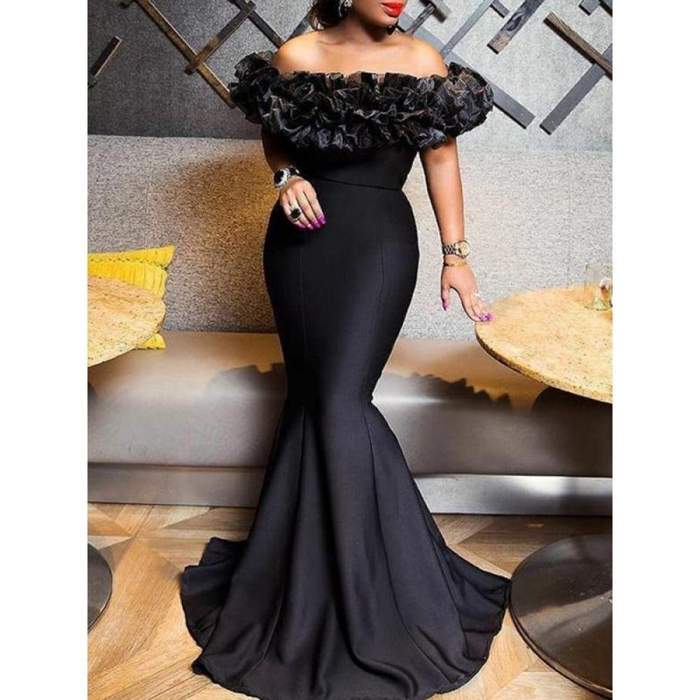 Photo of Slash Neck Maxi Mermaid Dress