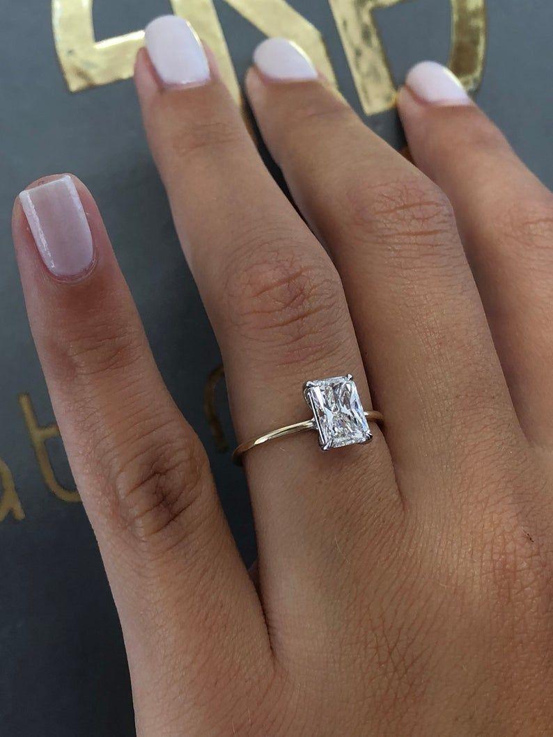 2.50 Carat Radiant Cut Diamond Engagement Ring/ Di