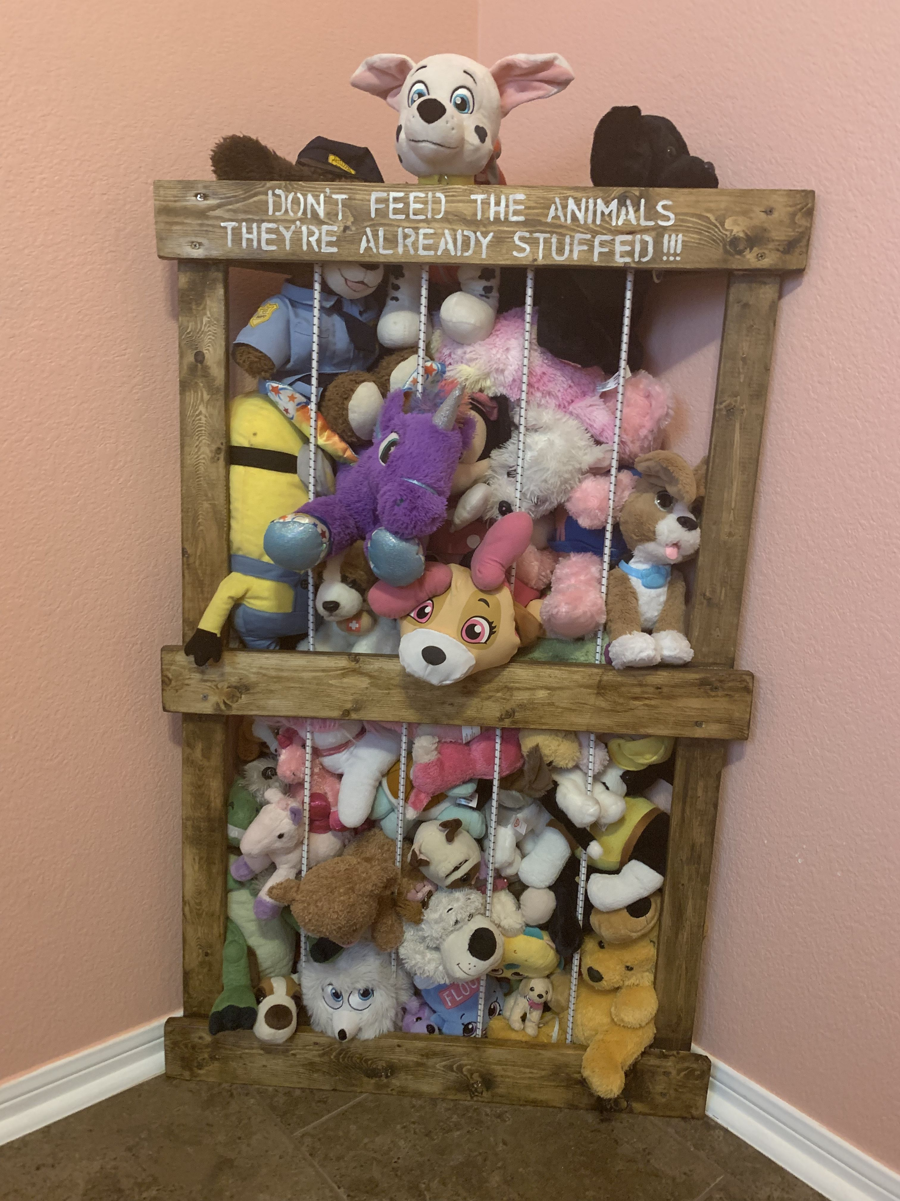 Stuffed Animal Zoo Found Design Instructions On Pinterest And Shortened It To Our Room Function Love The Corner Idea Stained The Animals Zoo Animals Kiddos