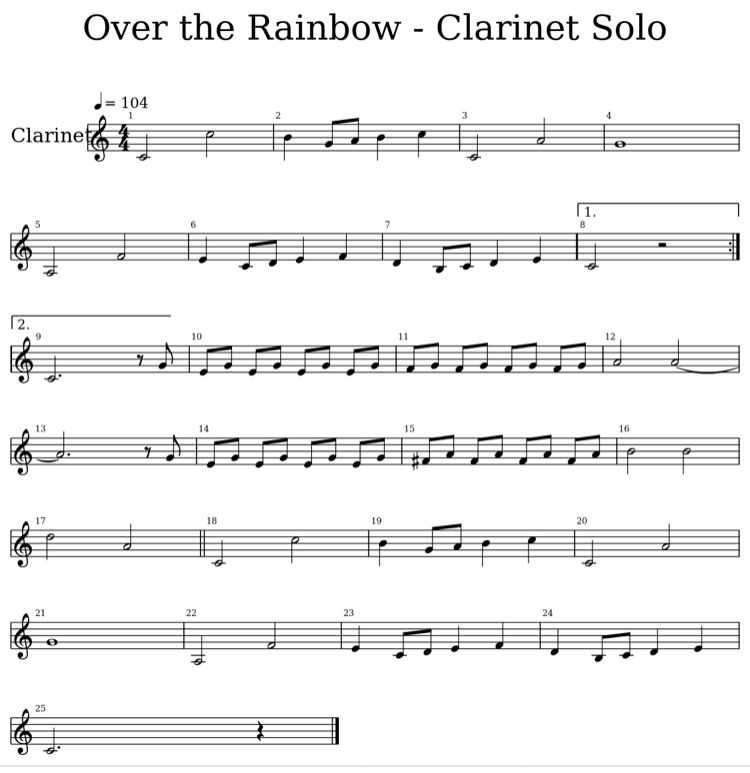 bb clarinet somewhere over the rainbow sheet music   clarinet sheet music,  piano songs sheet music, trumpet sheet music  pinterest