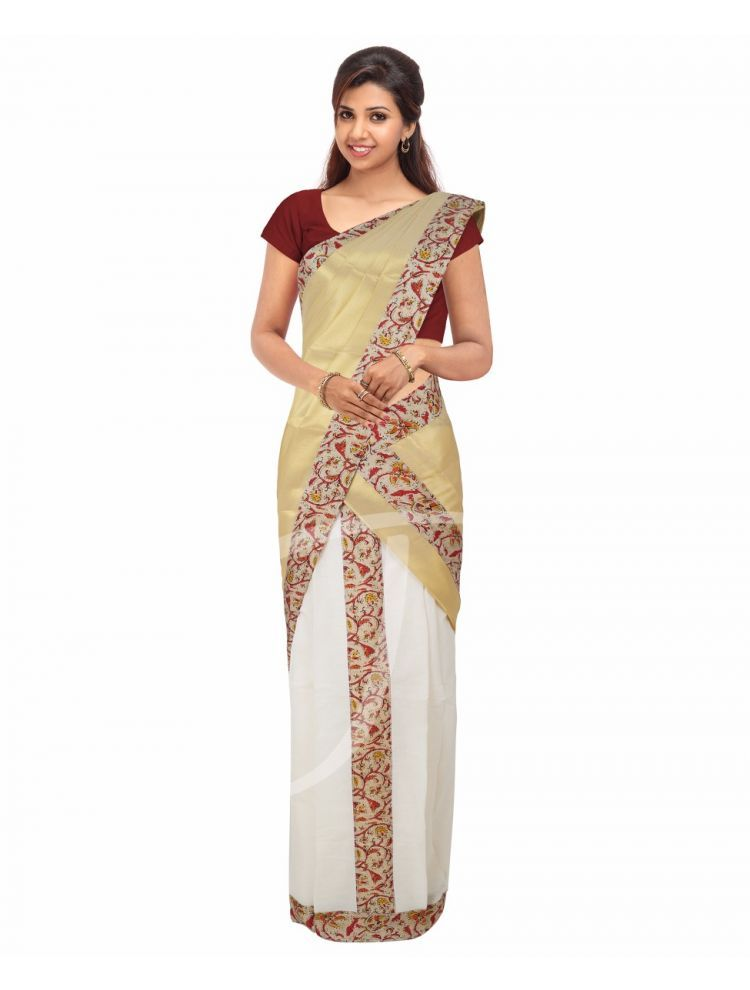 77ff4738e0 Cotton Golden And Cream Colour Set Mundu With Attached Multi Colour  Kalamkari Printed Semi Silk Borders