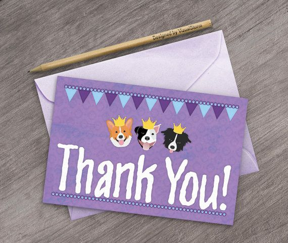 Dog Thank You Card For Pet Birthday Party Printable Prince Cards Dog