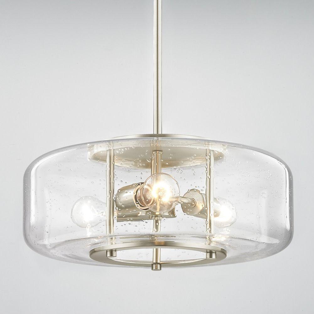 Modern Seeded Glass Pendant Light With 3 Lights Satin Nickel Finish At Destination Lighting Seeded Glass Pendant Glass Pendant Light Replacement Glass Shades