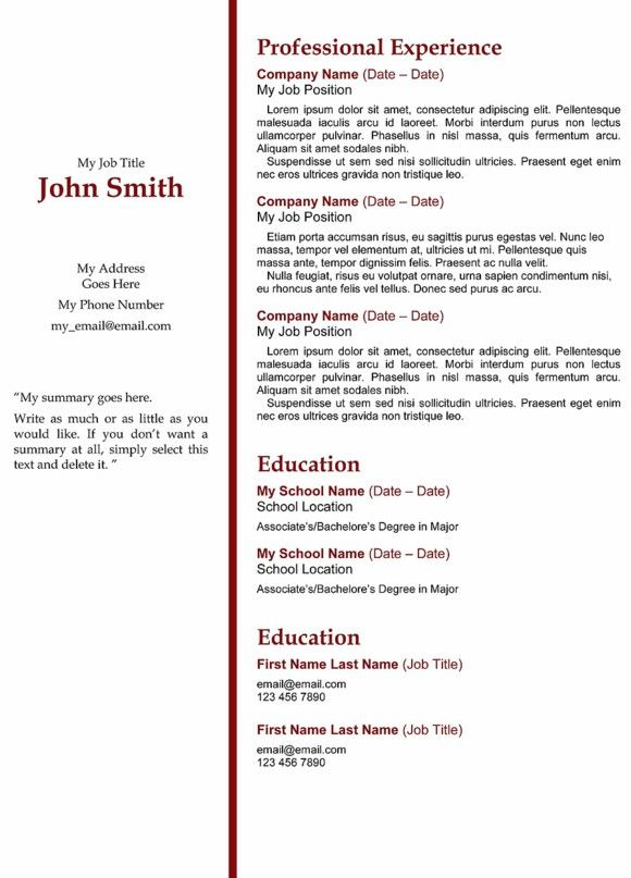 Red Stripe Template Resume  Resume Templates