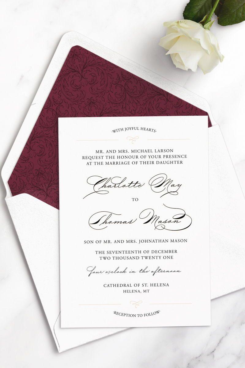Charlotte Wedding Invitation Simple Elegant Romantic Luxury Wedding I Wedding Invitations Elegant Simple Wedding Invitations Timeless Wedding Invitations