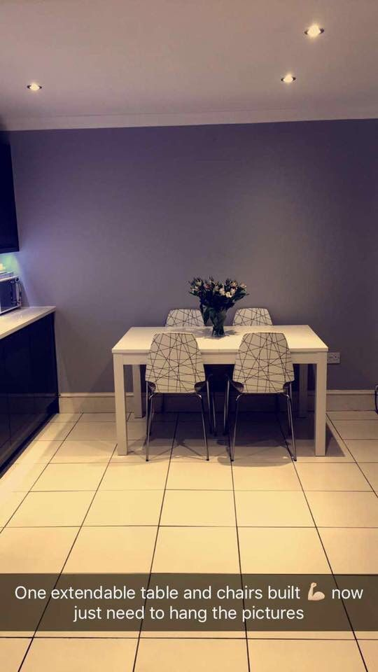 IKEA white table and white and grey chairs, extendable
