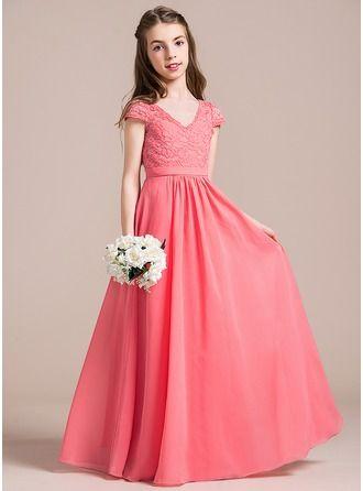27e6f6f231 Corte A Princesa Escote en V Hasta el suelo Chifón Encaje Vestido de Damita  de honor
