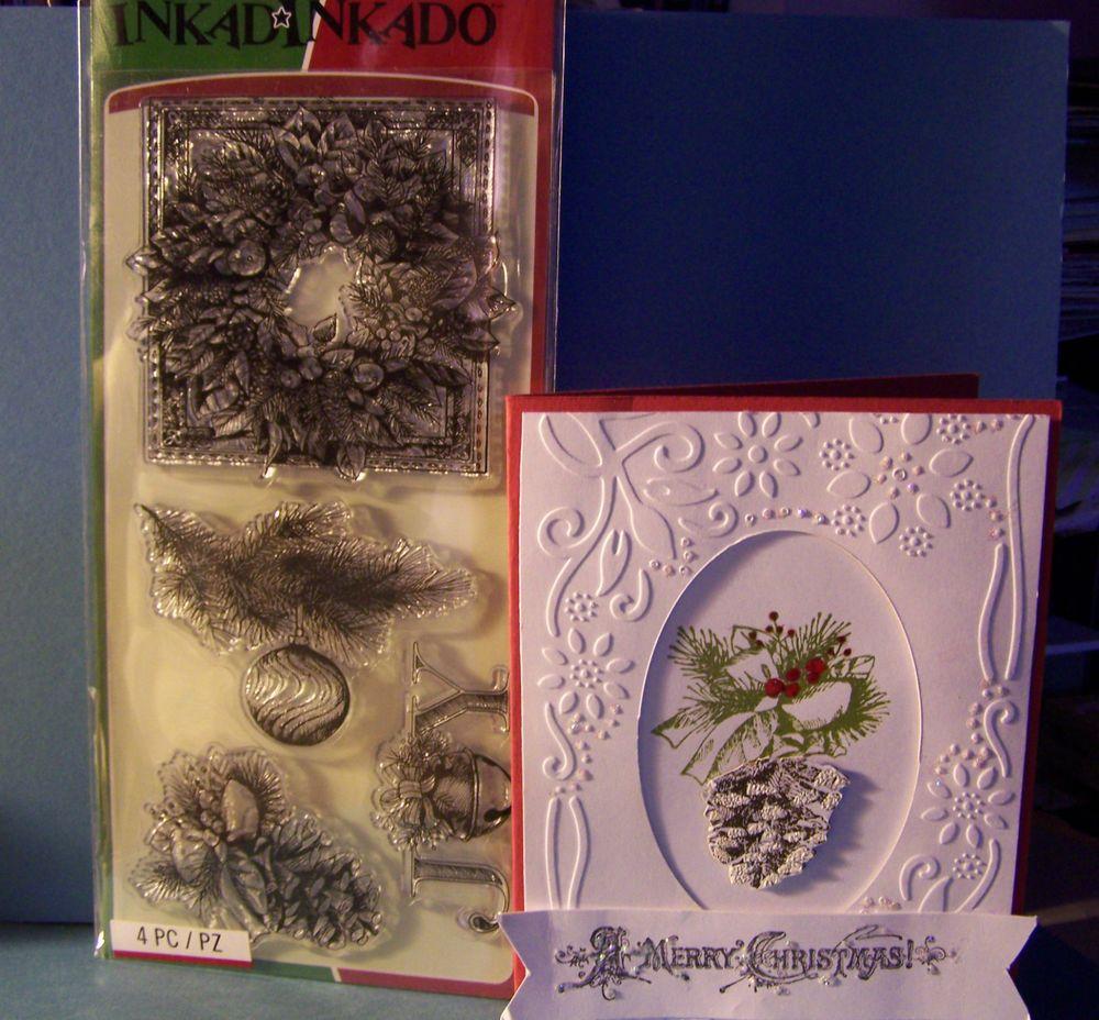Inkadinkado clear stamp set - EVERGREEN - Christmas JOY Pine Cone Pine &…   Create christmas ...