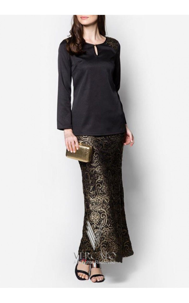 Baju Kurung Moden Prada Lace Skirt - VERCATO Rina in Gold  Batik