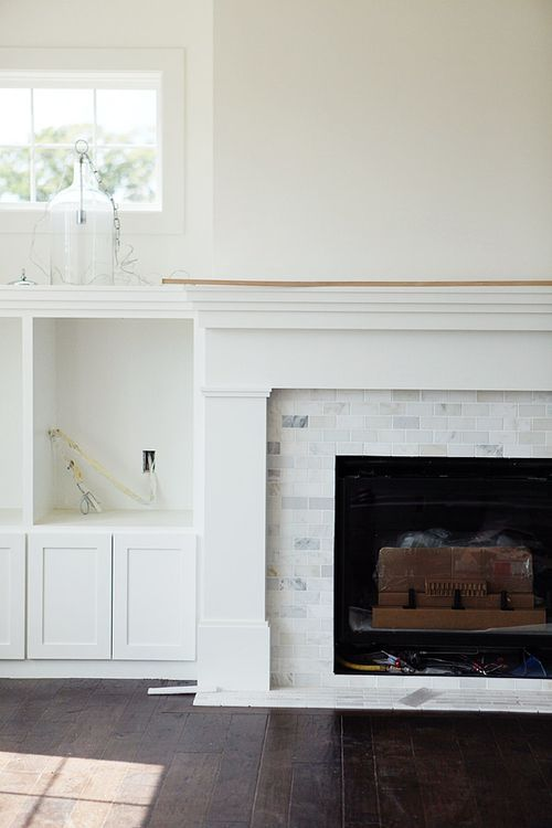 Marble Subway Tile Fireplace Surround Fireplace Built