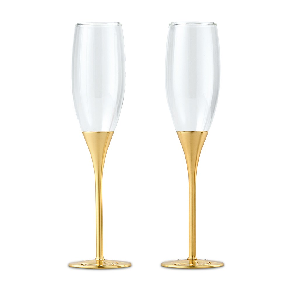 Gold Wedding Champagne Glasses With Crystal Gems Gold Champagne Flutes Gold Champagne Glasses Wedding Champagne Glasses