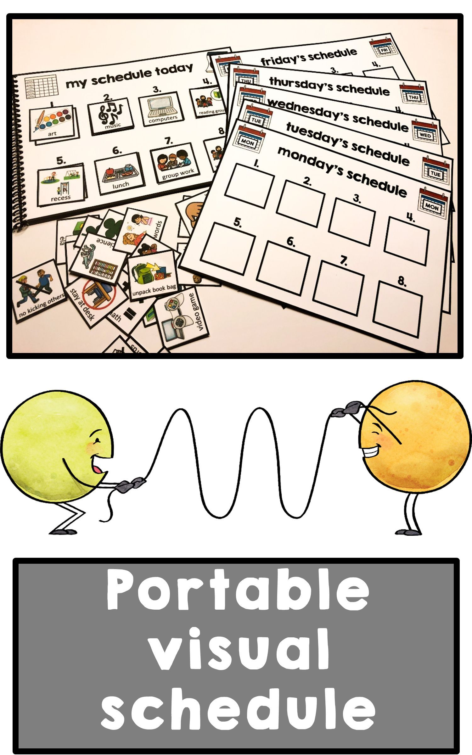 Portable visual schedule and task analysis for wit