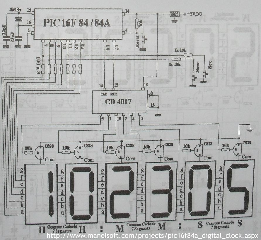 Pic16f84a Digital Clock Schematic Digital Clocks Pic Microcontroller Electronic Schematics