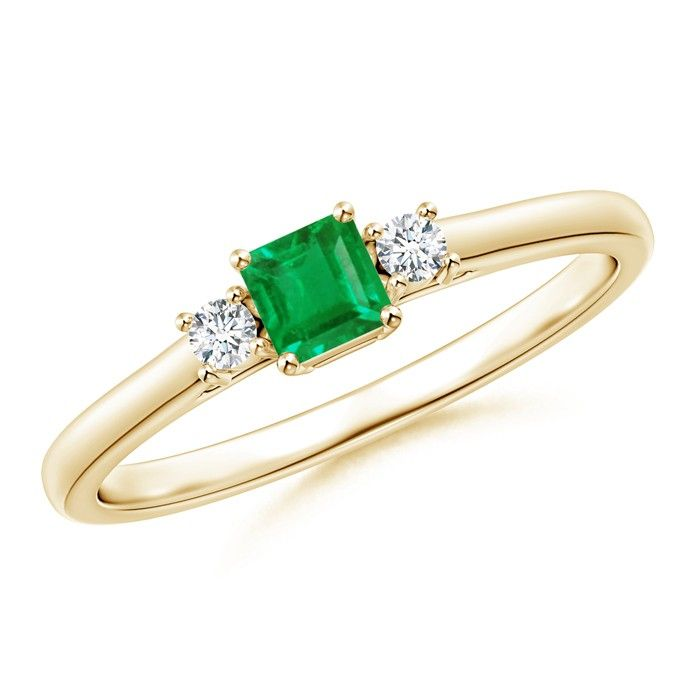 Angara Emerald-Cut Peridot and Trapezoid Diamond Three Stone Ring Yellow Gold
