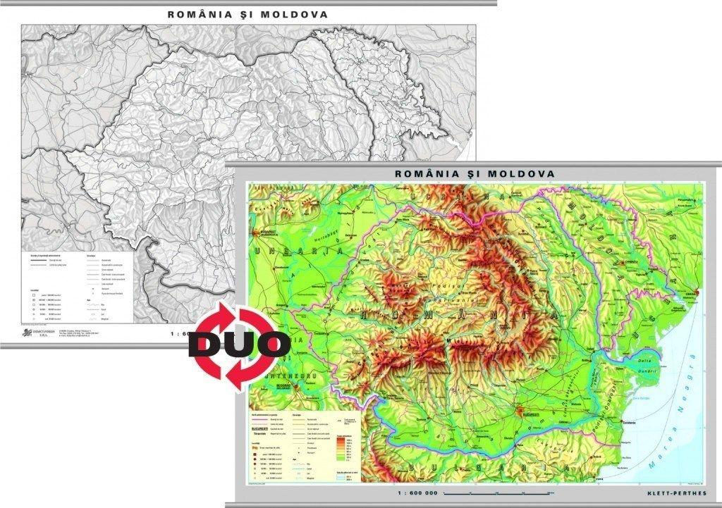 Romania Harta Fizica Pe Verso Harta In Contur Fizică
