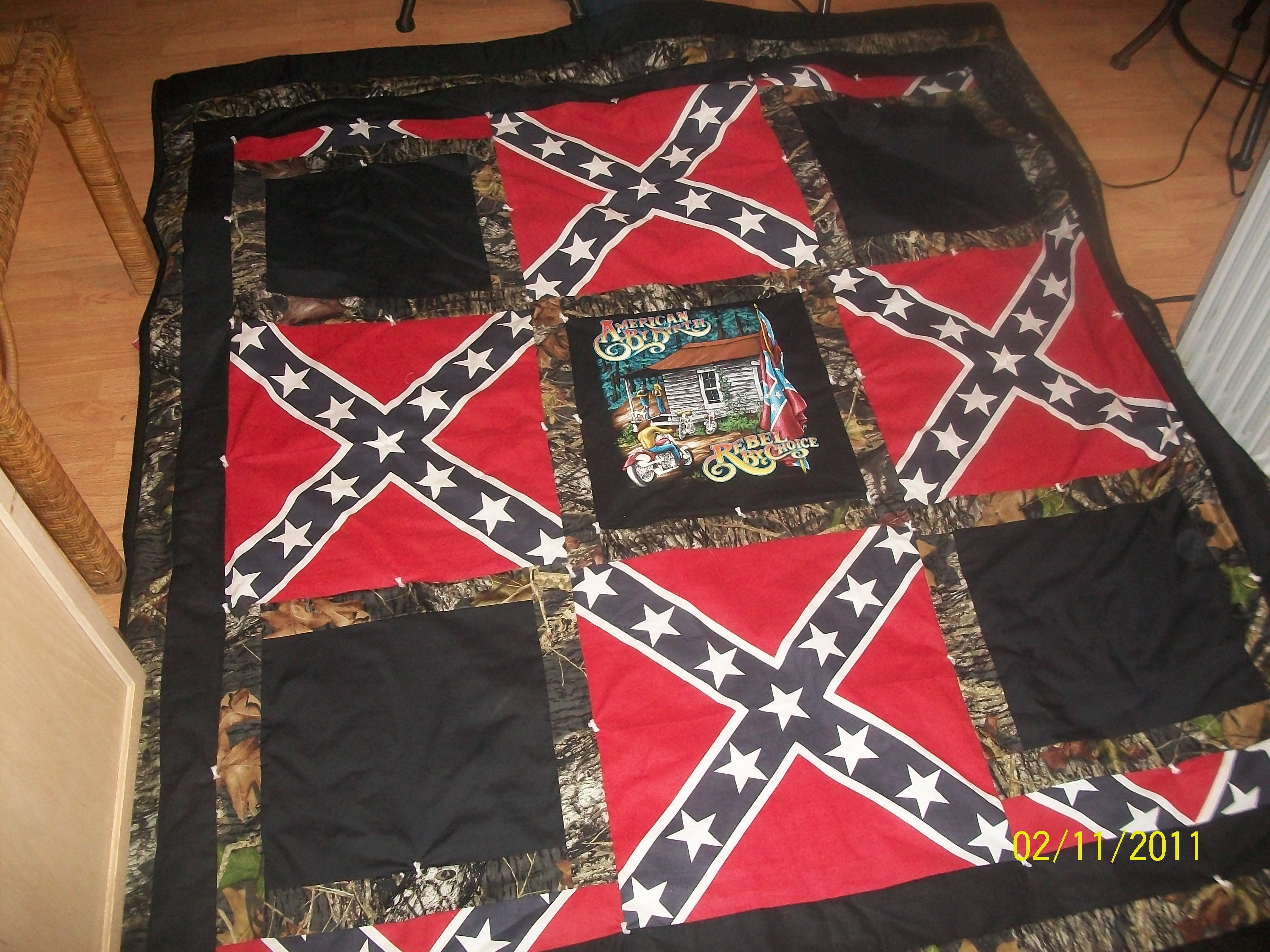 Confederate flag and Country Biker Quilt Kim s Handmade Quilts And Collectibles Pinterest ...