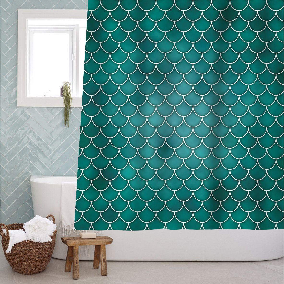 Details About Mermaid Tail Scale Fabric Shower Curtain Bathroom