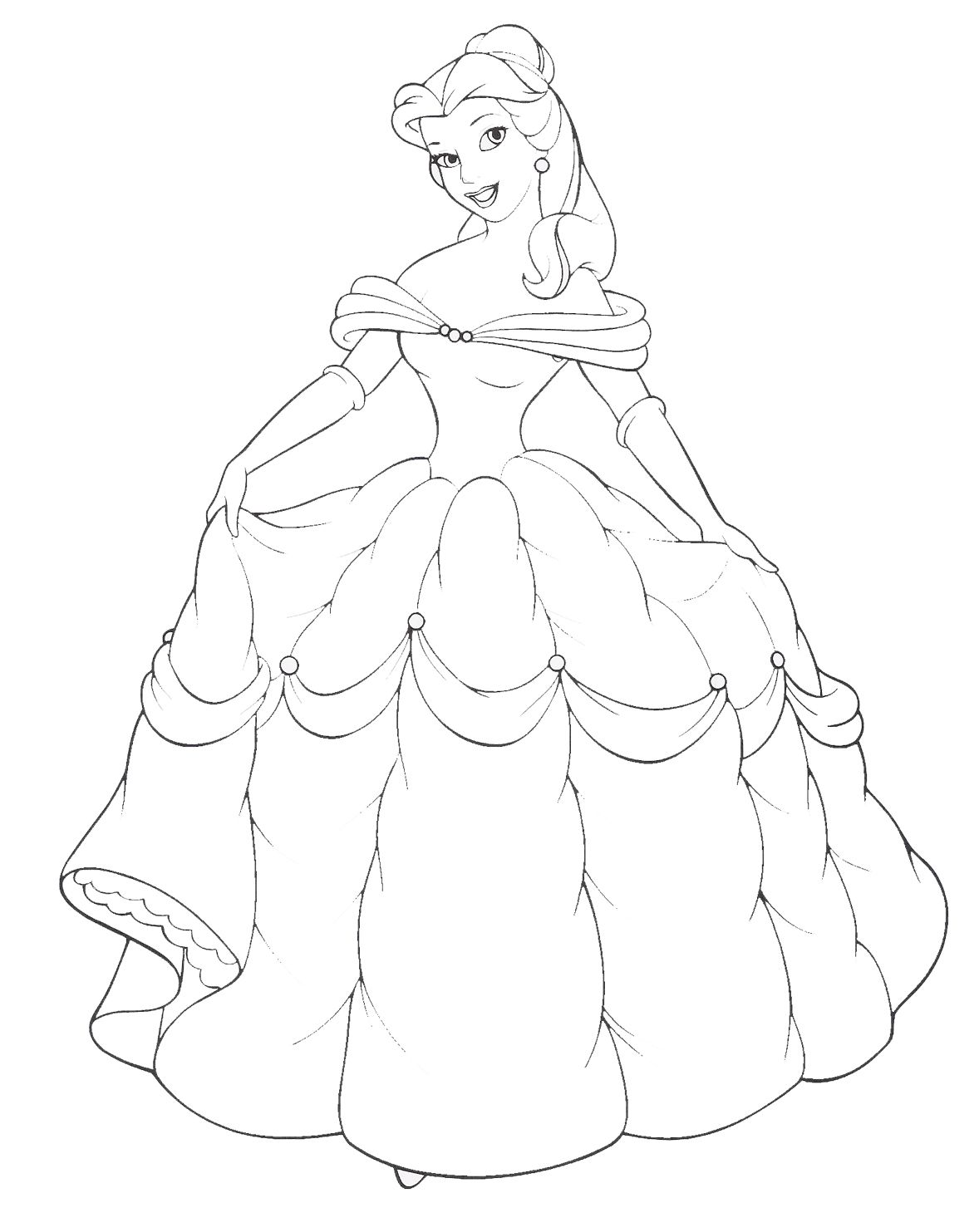 All princess coloring pages - Disney Princess Belle And Her Gown Coloring Sheet To Paint On Canvas As A Silhouette