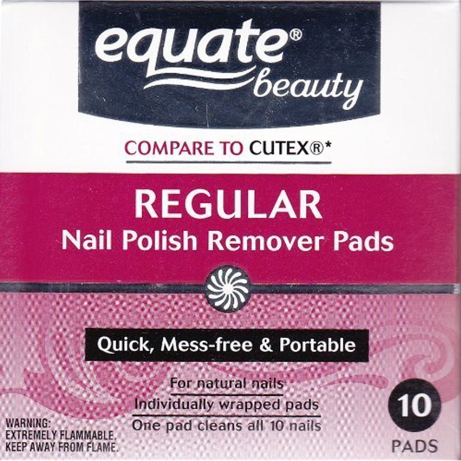 Acetone Regular Nail Polish Remover Pads by Equate 10ct