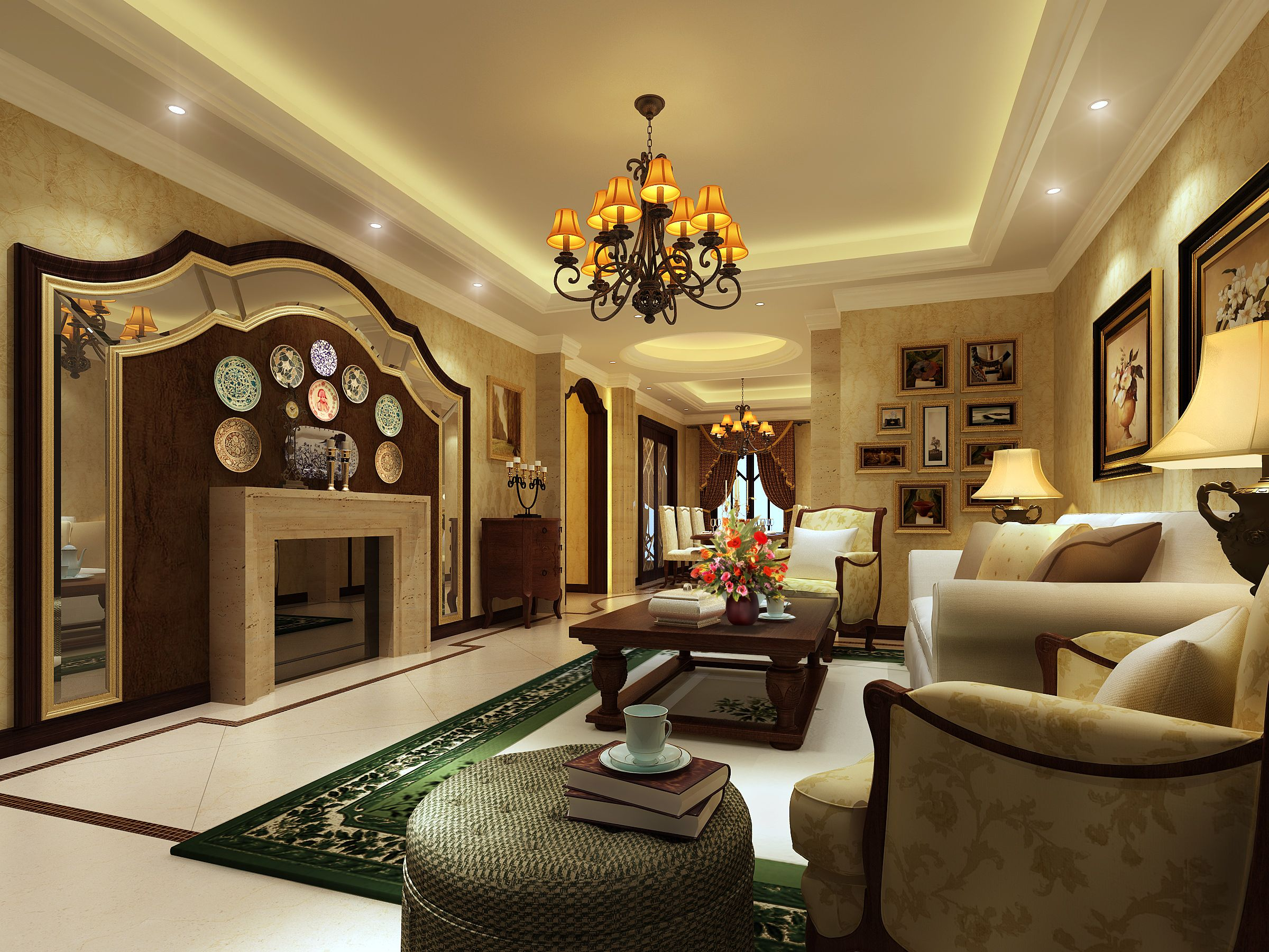 Fantastic Vintage Living Room With Central Fireplace And