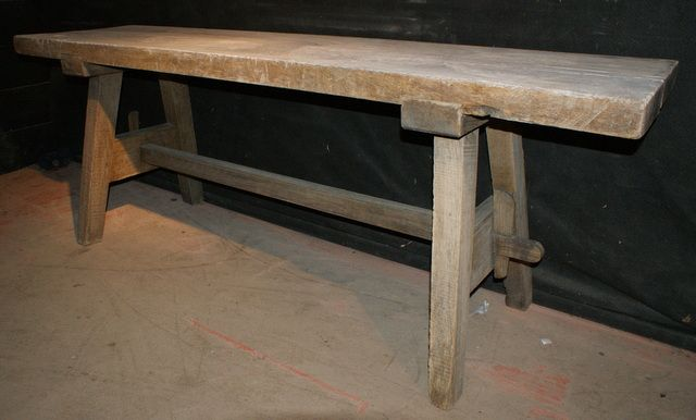 Bleached Trestle Table 19th C French Thick Top Bleached Oak Trestle Table.  1860.